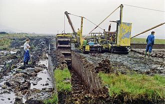 Turf-cutting near Maam Cross by the road to Leenane, Co. Galway. Maam Cross turf-cutting geograph-3178833-by-Ben-Brooksbank.jpg
