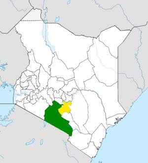 Machakos County - Machakos County (yellow) within Nairobi Metro (green)