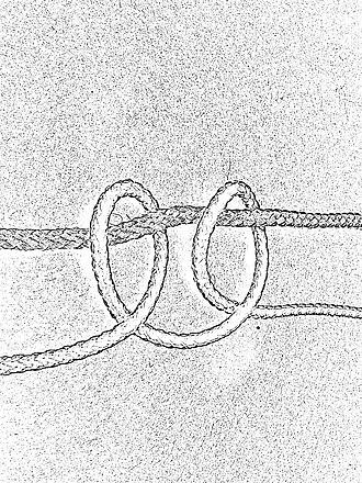 Macramé - Macramé knot: clove hitch: loop to the left