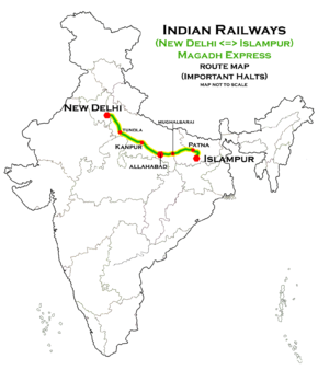Magadh Express (New Delhi - Islampur) route map