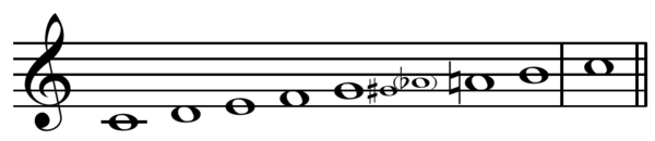 Major bebop scale on C