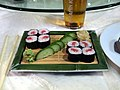 Makizushi and beer.jpg