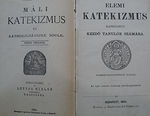Magyarization - Bilingual catechism textbook from 1894.