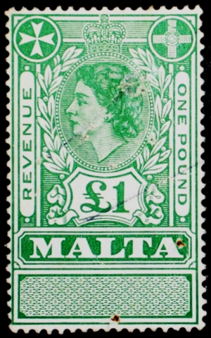 Queen of Malta - Elizabeth II on a Maltese stamp, 1954