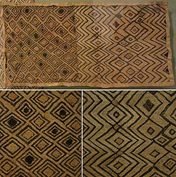 Man's status cloth, Shoowa people, early 20th century, raffia palm fiber, plain weave, cut-pile embroidery, HMA.jpg