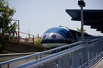 "Disneyland Monorail System - Monorail Blue as ""Mandy Monorail"" at the Tomorrowland Monorail Station in June 2012"