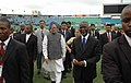 Manmohan Singh is being received by the President of South Africa Mr. Thabo Mbeki on his arrival at Kingsmead Stadium at a celebration of 100th Anniversary of Mahatma Gandhi's Satyagraha at Durban, South Africa.jpg