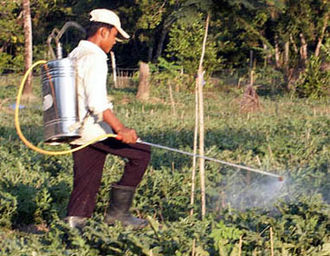 Pesticide application - A manual backpack-type sprayer