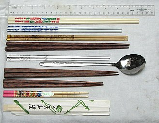 Chopsticks - From top to bottom: Chinese melamine chopsticks, Chinese porcelain chopsticks, Tibetan bamboo chopsticks, Vietnamese palmwood chopsticks, Korean stainless steel flat chopsticks with matching spoon, Japanese couple's set (two pairs), Japanese child's chopsticks, and disposable waribashi (in wrapper)