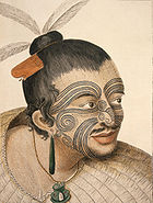 A Maori Chief with tattoos (moko) seen by Cook and his crew.