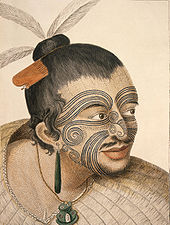 9a8bda81a A Māori chief with tattoos (moko) seen by Cook and his crew