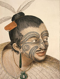 Head and shoulders portrait of a Māori man, hi...