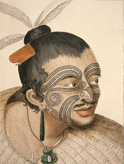 "<i><i lang=""mi"" title=""Māori language text"">Tā moko</i></i> Maori facial marking which looks like a tattoo"