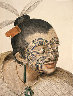 d58c27f93 Sketch of a Māori chief by Sydney Parkinson (1784)