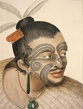 Tā moko - Sketch of a Māori chief by Sydney Parkinson (1784)