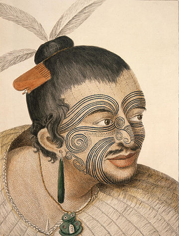 A Maori chief with tattoos (moko) seen by James Cook and his crew MaoriChief1784.jpg