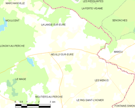 Mapa obce Neuilly-sur-Eure