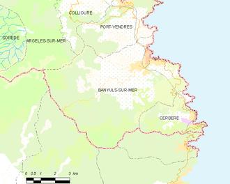 Banyuls-sur-Mer - Map of Banyuls-sur-Mer and its surrounding communes