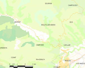 Campôme - Map of Campôme and its surrounding communes