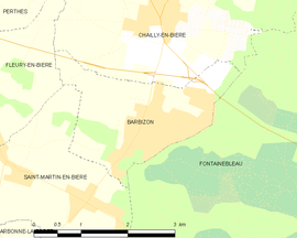 Mapa obce Barbizon