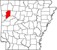 Kart over Arkansas med Franklin County uthevet