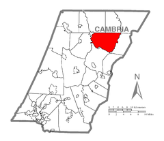 Map of Clearfield Township, Cambria County, Pennsylvania Highlighted.png