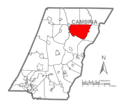 Map of Cambria County, Pennsylvania highlighting Clearfield Township