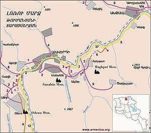 Odzun Church - Image: Map of Haghpat