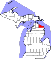 State map highlighting Presque Isle County