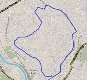 Mount Washington, Los Angeles - Image: Map of Mount Washington neighborhood, Los Angeles, California