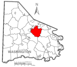 Map of Washington County, Pennsylvania highlighting North Strabane Township