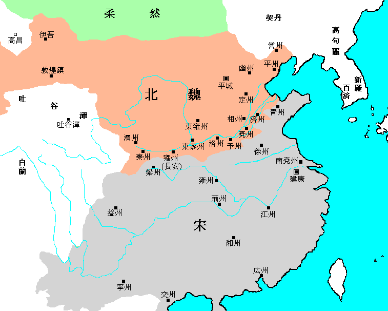 Map of Northern Wei and Liu Song Dynasty ja