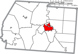 Location of Chillicothe in Ross County