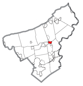 Map of Stockertown, Northampton County, Pennsylvania Highlighted.png