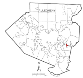 Map of Wilmerding, Allegheny County, Pennsylvania Highlighted.png