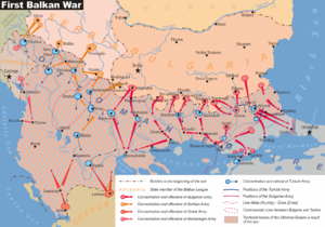 SMS Weissenburg - Image: Map of the First Balkan War