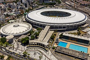 Maracanã Stadium - Aerial view of the Maracanã complex in 2014, with the stadium visible at top and the Maracanãzinho at left