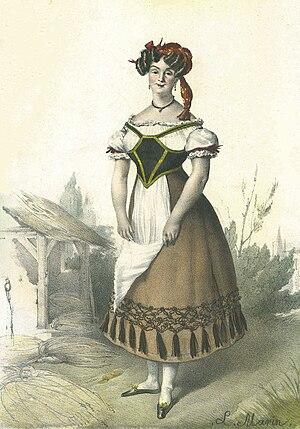 Marie-Julie Halligner - Lithograph of Marie-Julie Halligner by Louis Stanislas Marin-Lavigne