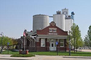 Marion, Kansas - Marion Library, in former Santa Fe depot (grain elevator in background) (2011)