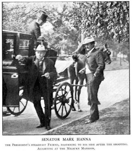 Senator Mark Hanna (left), friend of President McKinley, arriving at the Milburn House after the shooting Mark Hanna at Milburn Mansion.jpg