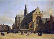 Market Place at Haarlem, Looking towards Grote Kerk by Berckheyde