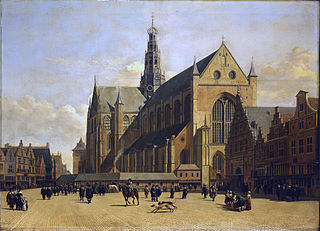 Market Place at Haarlem, Looking towards Grote Kerk