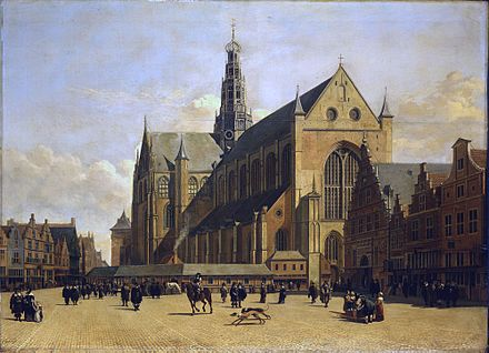 The Grote Kerk in Haarlem, Dutch Republic, c. 1665 Market Place at Haarlem, Looking towards Grote Kerk by Berckheyde.jpg