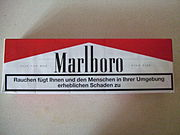 Carton of German cigarettes, complete with large warning