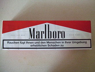 Tobacco packaging warning messages - Carton of German cigarettes, complete with warning