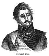 Dessin en noir et blanc d'un homme, montré du milieu de la poitrine vers le haut.  Il porte une veste militaire à col montant.