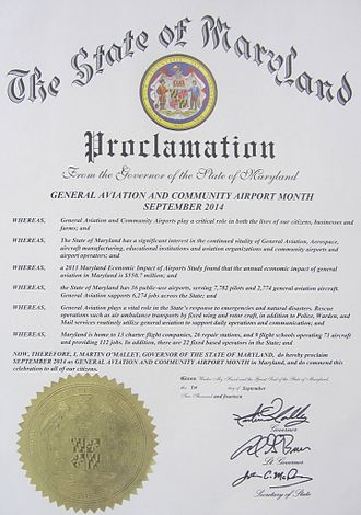 Aviation in Maryland - Proclamation that September 2014 is the General Aviation and Community Airport Month
