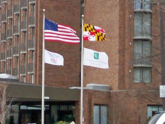 Flag of Maryland - The Maryland state flag flying alongside the American flag in March 2008.
