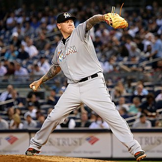 Mat Latos - Latos pitching for the Miami Marlins in 2015