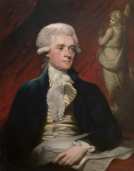 Portrait of Thomas Jefferson while in London in 1786 by Mather Brown Mather Brown - Thomas Jefferson - Google Art Project.jpg